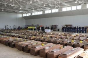 Cercueils des victimes du naufrage de Lampedusa