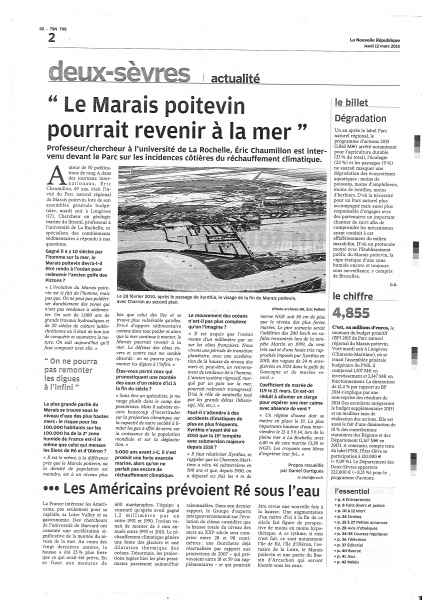 Article NR 12-03-15 Marais Poitevin et changement climatique