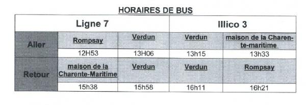 TABLEAU BUS HORAIRES