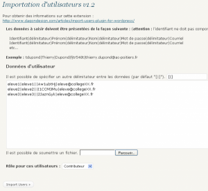 "Extension ""Import d'utilisateurs"""