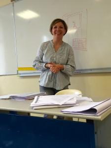 Mme Fauvel expliquant sa vision du métier de journaliste