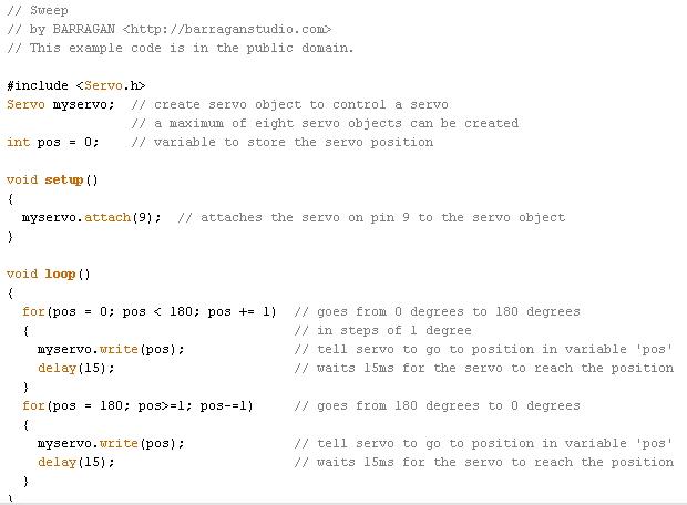 Exemple de programme, la commande servomoteurs, avec un langage proche du langage C (source : LP2I, capture d'un exemple d'Arduino, servo sweep)