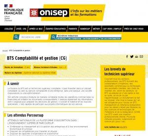 Présentation du BTS CG sur le site de l'ONISEP