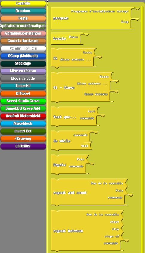 On peut sélectionner le bloc correspondant à la structure de contrôle souhaitée : Boucle faire ..., Si ... alors ..., Tant que ... (Source : Collège Jean Macé)