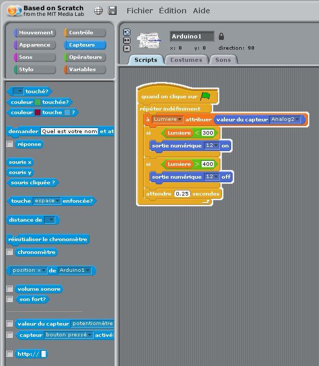 Une partie de l'interface de Scratch pour Arduino avec un exemple de programme (Source : Collège Jean Macé)