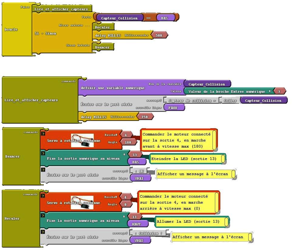 3) Capteur collision + Servo rotation continue (complet) 100615