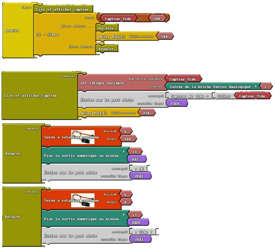 4) Capteur vide + Servo rot continue (complet) 100615