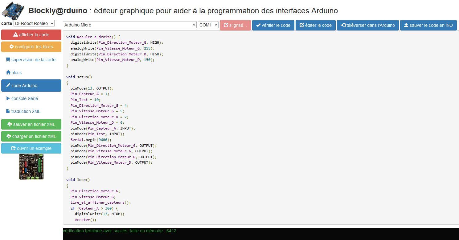 Code Arduino généré par Blockly Arduino (Source : collège Jean Macé)