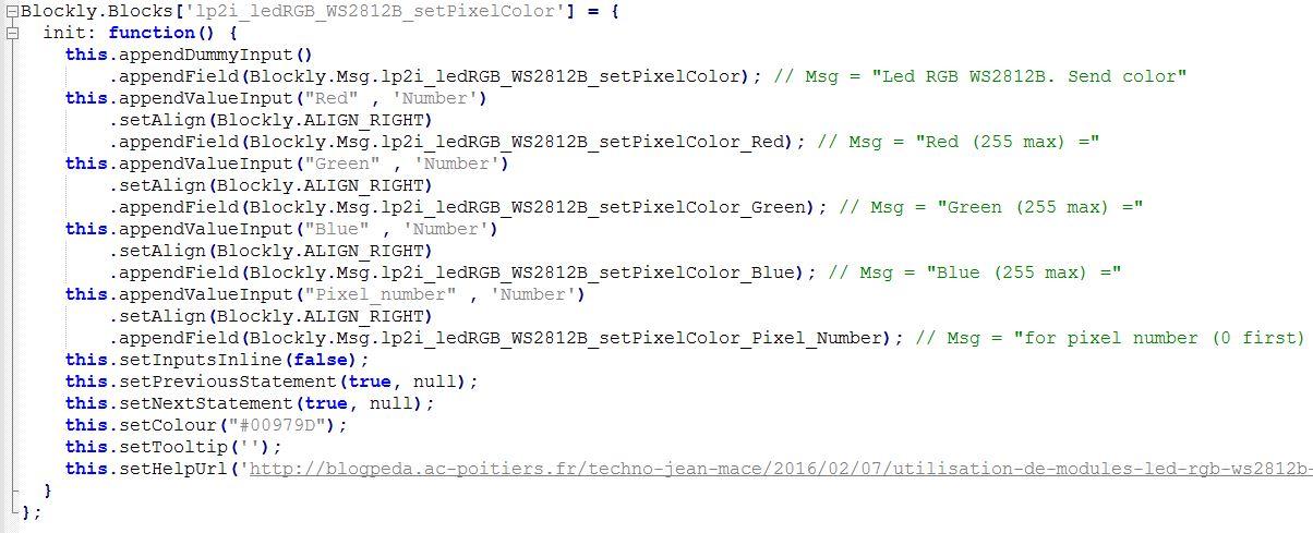 Définition d'un bloc en javascript dans le code source de Blockly Arduino pour commander une LED RGB : il suffit de s'inspirer des blocs existants (Source : Collège Jean Macé)