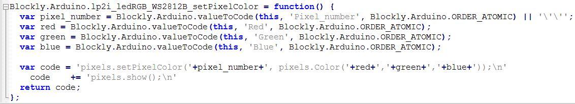 Code pour bloc Led RGB 150216