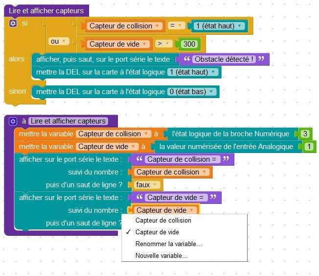 Exemple de menu déroulant avec les variables existantes (Source : Collège Jean Macé)