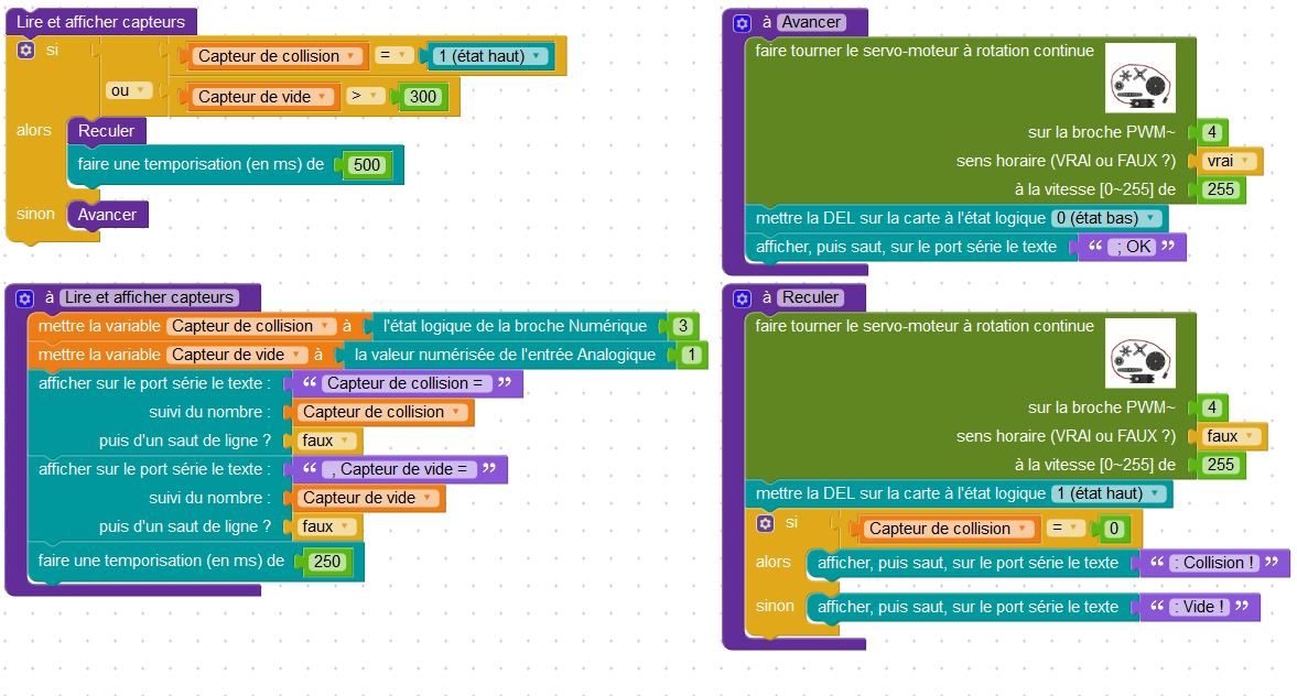 Exemple de programme écrit avec Blockly Arduino. Il utilise un capteur de collision (logique), un capteur de vide (optique et analogique) , et un servomoteur à rotation continue (Source : Collège Jean Macé)