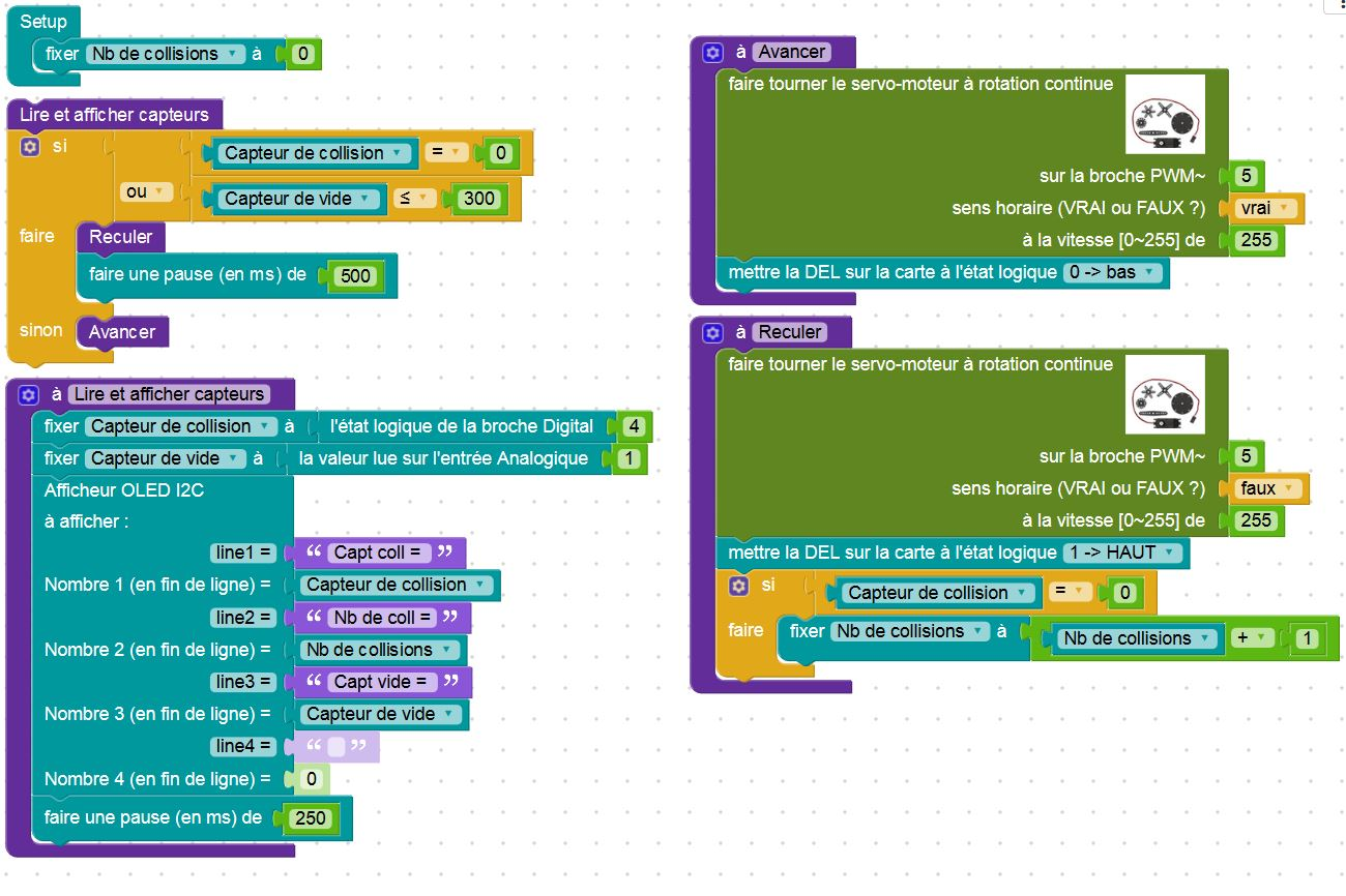 Programme de test de l'afficheur OLED avec Blockly Arduino (Source : Collège Jean Macé)