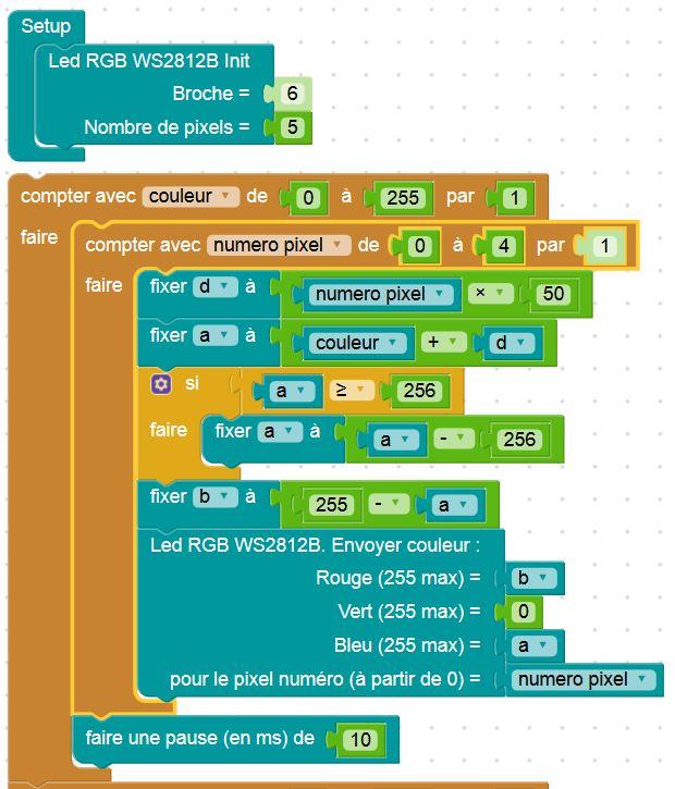 Extrait d'un programme de test de deux nouveaux blocs pour piloter ces modules Led RGB WS2812B (Source : Collège Jean macé)