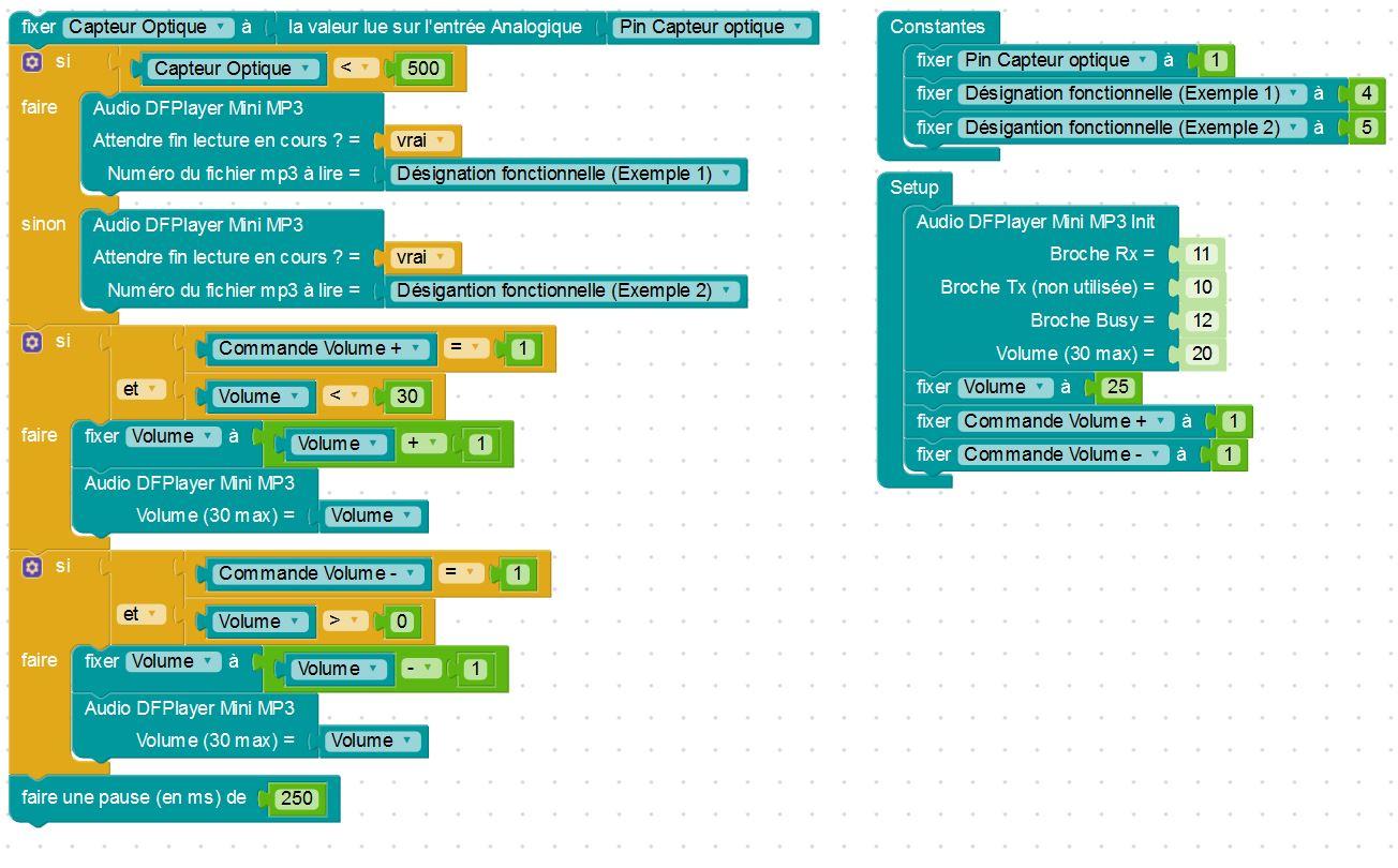 Exemple de programme de test du module audio MP3 avec les 3 nouveaux blocs de Blockly Arduino (Source : Collège Jean Macé)