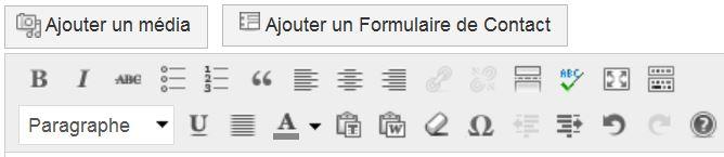 Barre d'outils WordPress (Source : Capture WordPress par Collège Jean Macé)